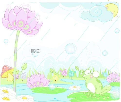 青蛙荷花卡通图