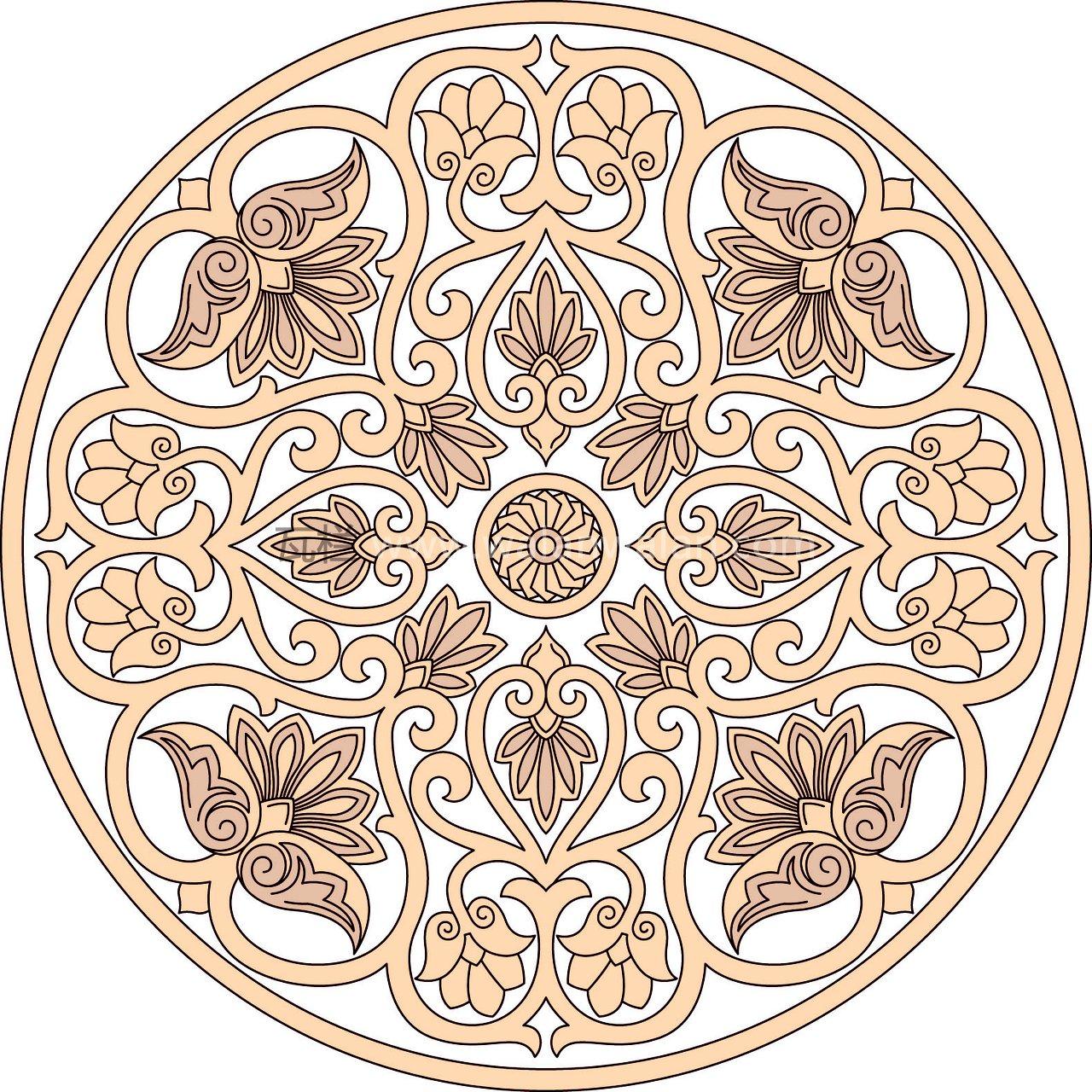 單色圓形青花瓷盤子花紋ai矢量文件