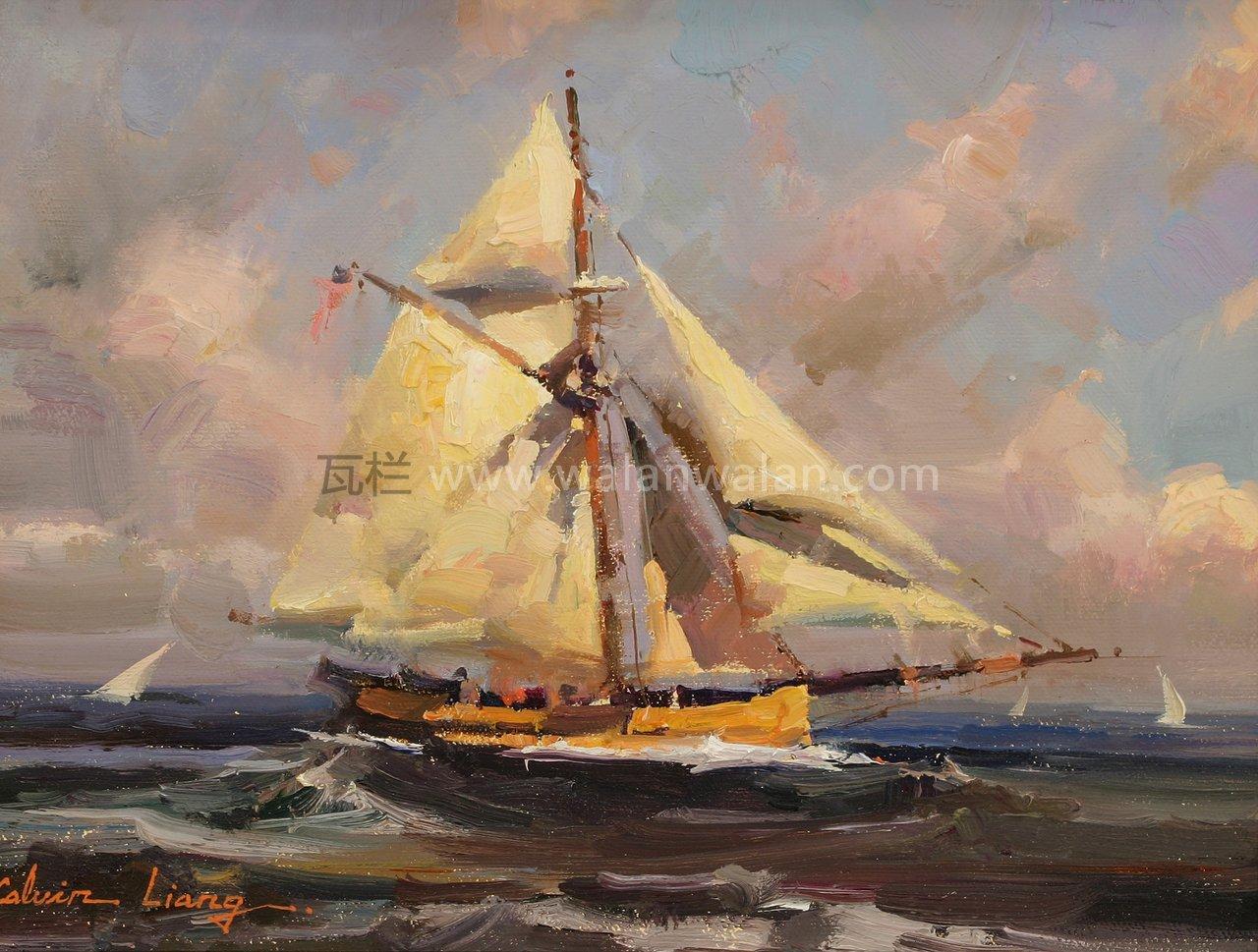 帆船类风景油画