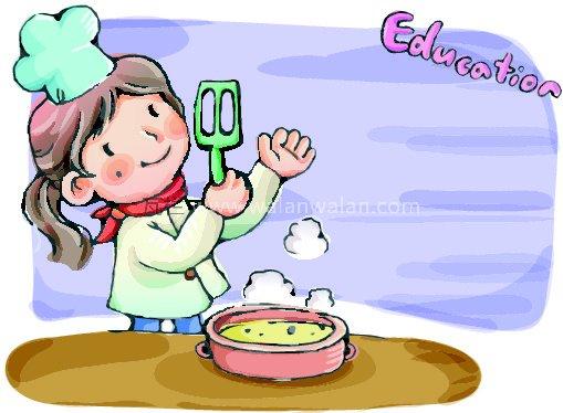 做饭中的小姑娘 矢量图