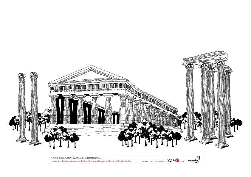 黑白素描建筑 矢量图