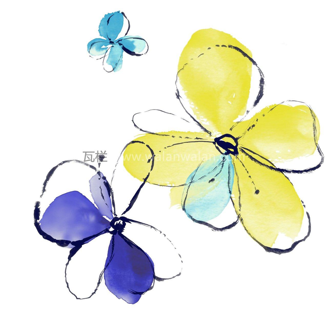 psd  关键字       白底, 花瓣, 花朵, 黄色, 蓝色, 水彩, 水墨