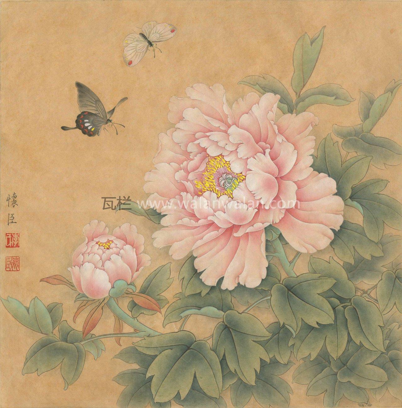蝴蝶牡丹花工笔画分享展示