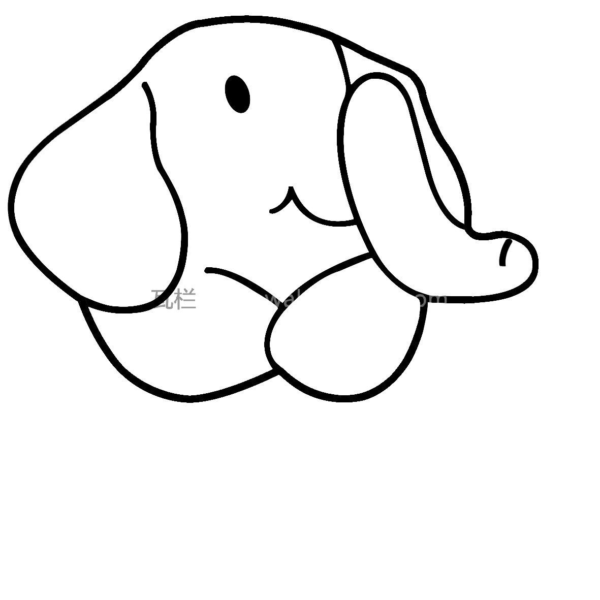 可爱卡通大象简笔画 12张